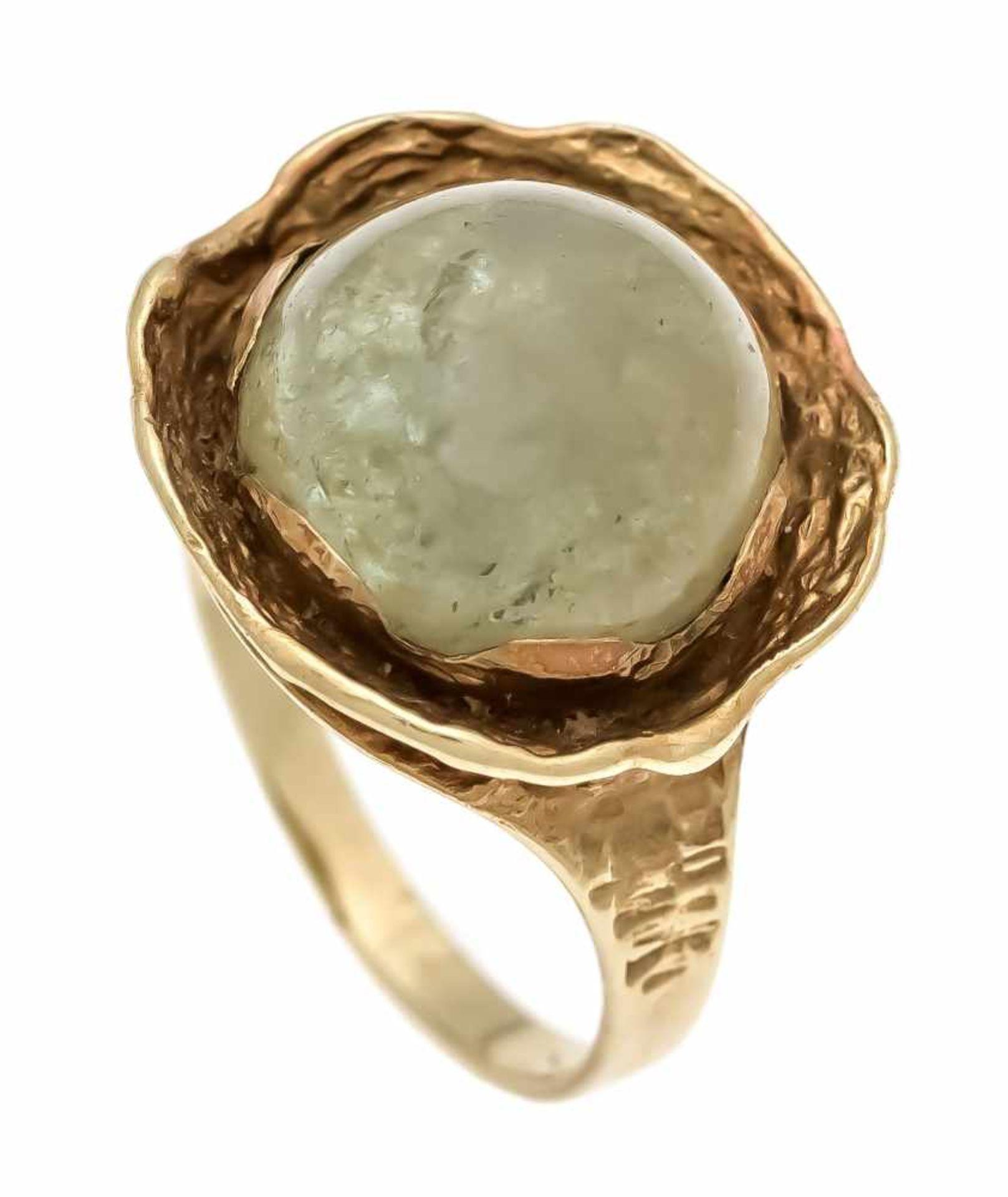 Edelstein-Ring GG 585/000 mit einem grünen Edelsteincabochon 11 mm, RG 54, 6,0 gGemstone ring GG