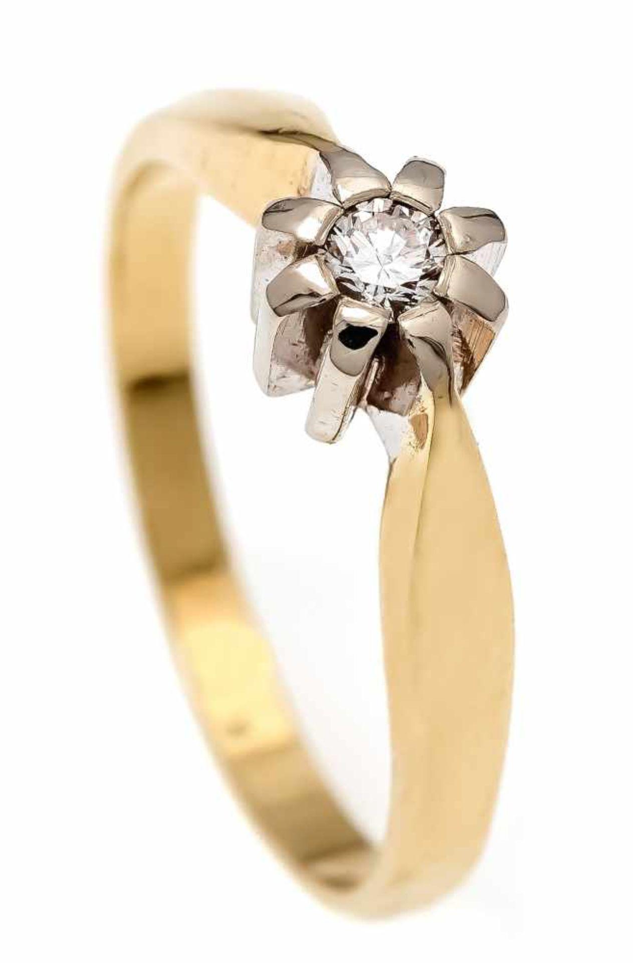 Brillant-Ring GG/WG 585/000 mit einem Brillanten 0,12 ct W/SI, RG 56, 3,7 gBrilliant ring GG / WG