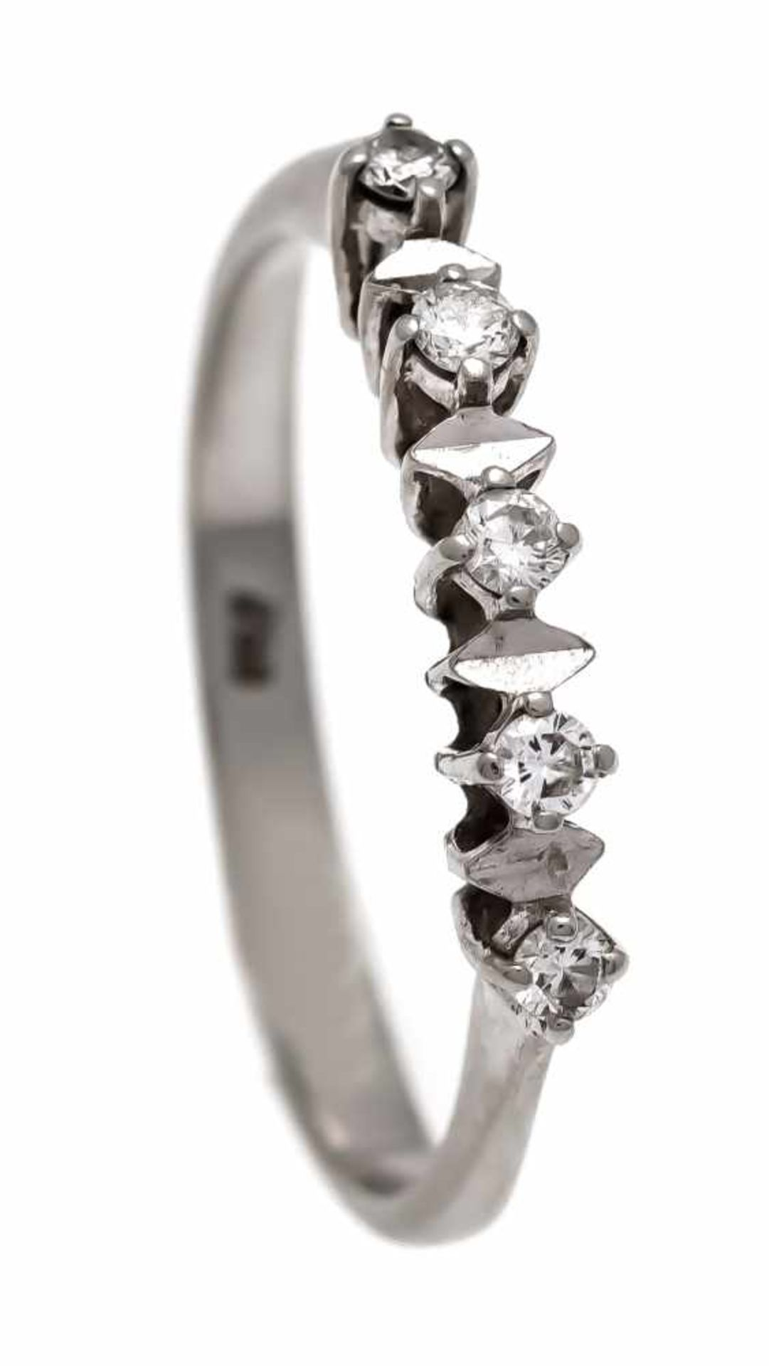 Brillant-Ring WG 750/000 mit 5 Brillanten, zus. 0,12 ct W/SI, RG 57, 2,1 gBrilliant ring WG 750/