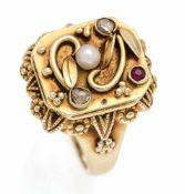 Diamantrosen-Rubin-Orientperlen-Ring GG 585/000 mit fac. Rubin, Orientperle 2,5 mm und