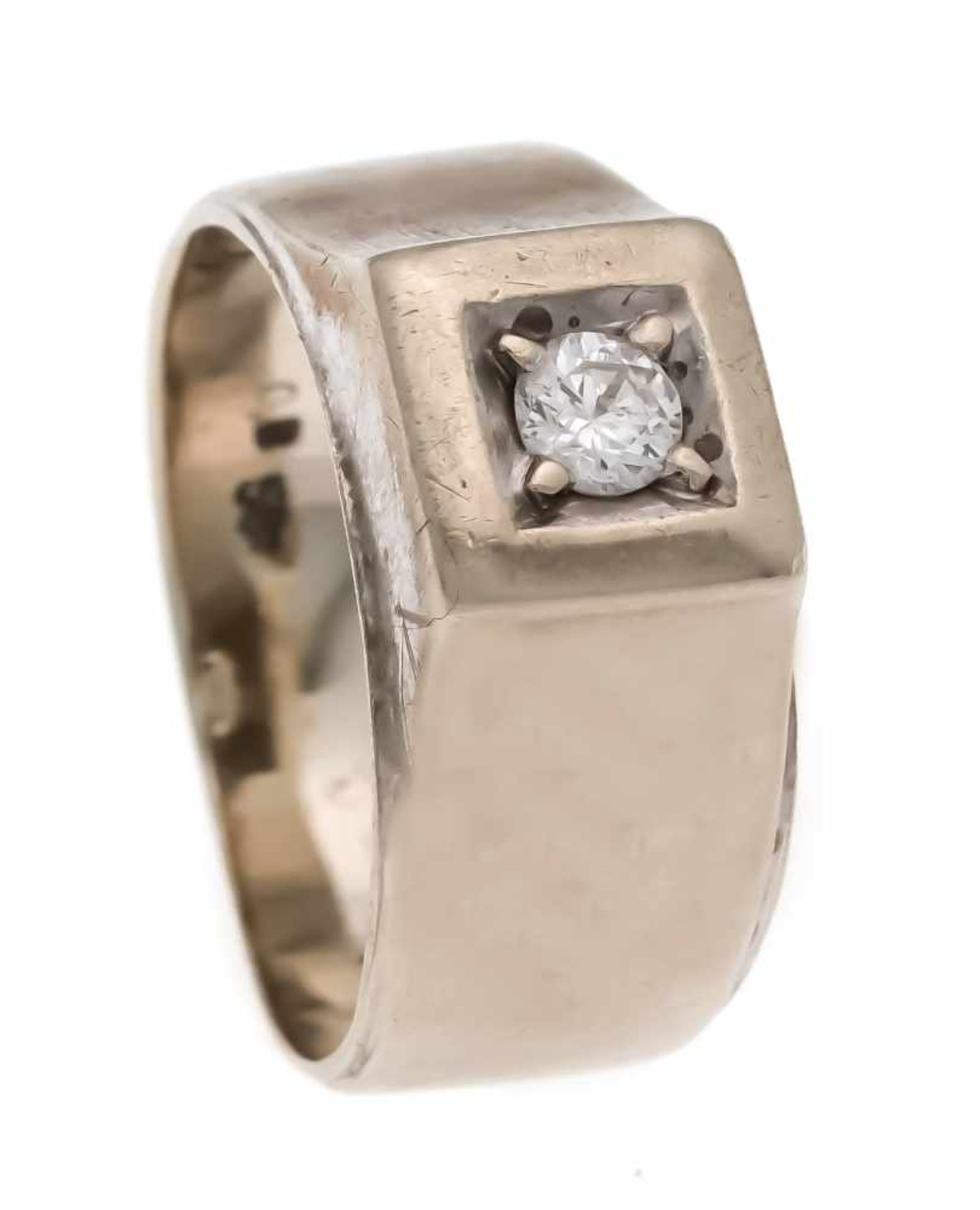 Brillant-Ring WG 585/000 mit einem Brillanten 0,12 ct W/SI, RG 47, 4,0 gBrilliant ring WG 585/000