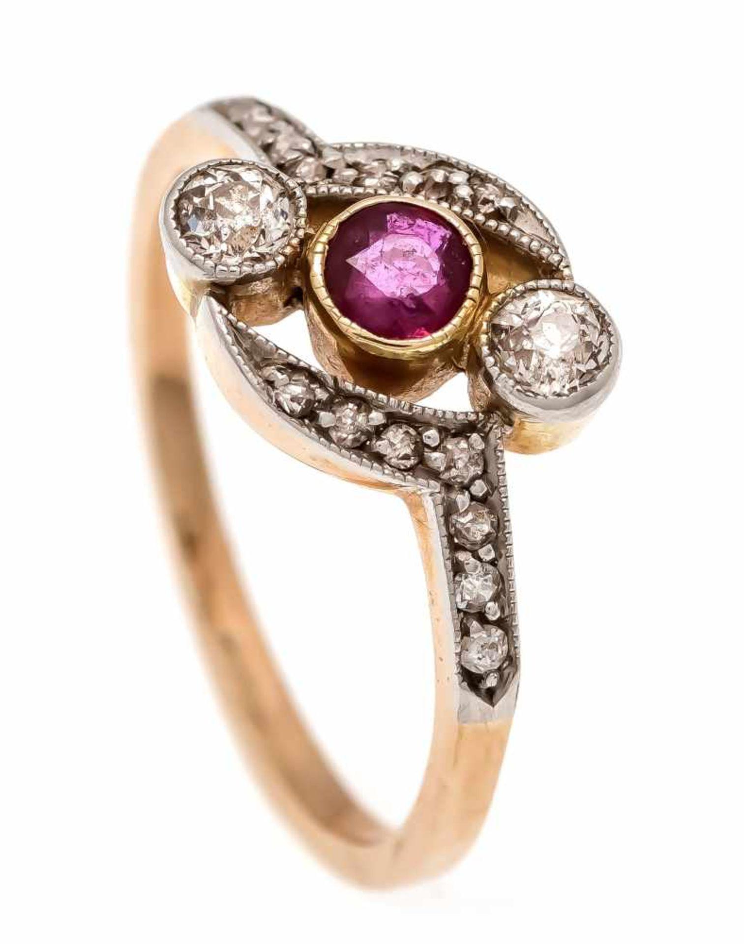Rubin-Altschliff-Diamantrosen-Ring GG/WG 585/000 mit einem rund fac. Rubin 3 mm, 2Altschliff-
