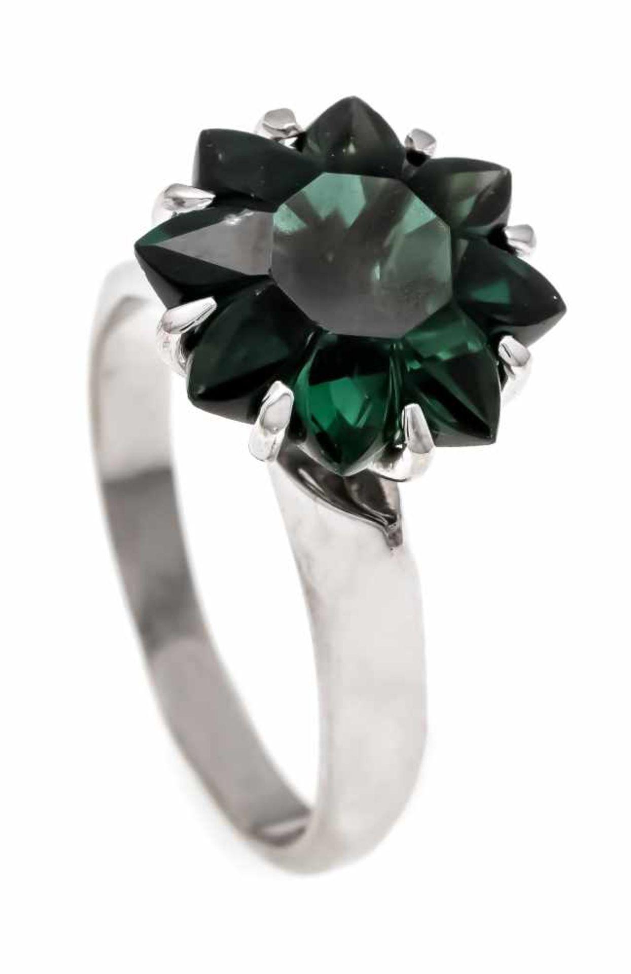 Edelstein-Ring WG 585/000 mit einem im Fantasieschliff fac. grünen Edelstein 13 mm, RG 53,4,9