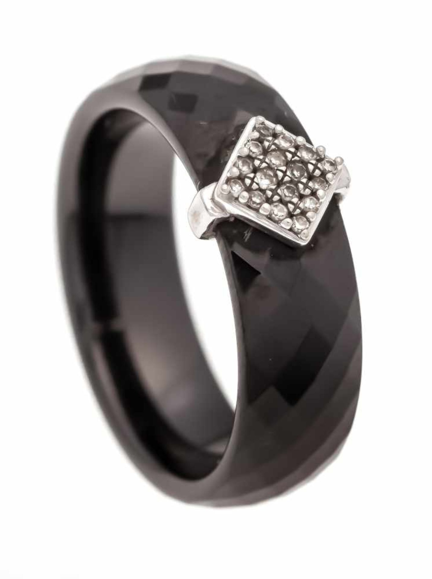 Keramik-Diamant-Ring WG 585/000 mit fac. schwarzer Keramik und 16 fac. Diamanten, zus.0,08 ct W/PI1,