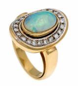 Opal-Brillant-Ring GG/WG 750/000 mit einem feinen Milchopalcabochon 12 x 7 mm mit sehrgutem