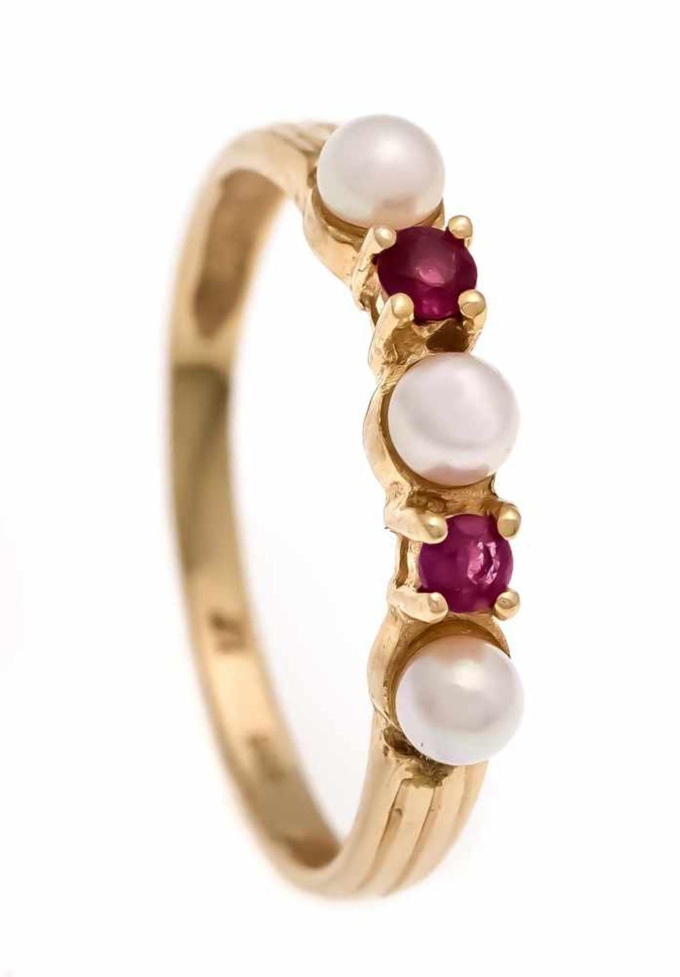 Rubin-Perlen-Ring GG 585/000 mit 2 rund fac. Rubinen 2 mm in guter Farbe und 3 Akoyaperlen3 mm, RG