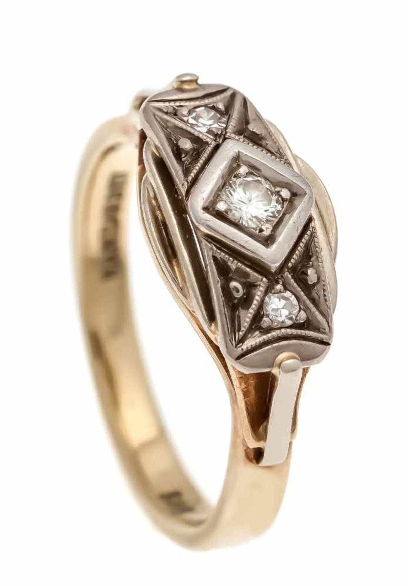 Brillant-Ring GG/WG 585/000 mit einem Brillanten 0,08 ct W/SI und 2 Diamanten, RG 57, 5,