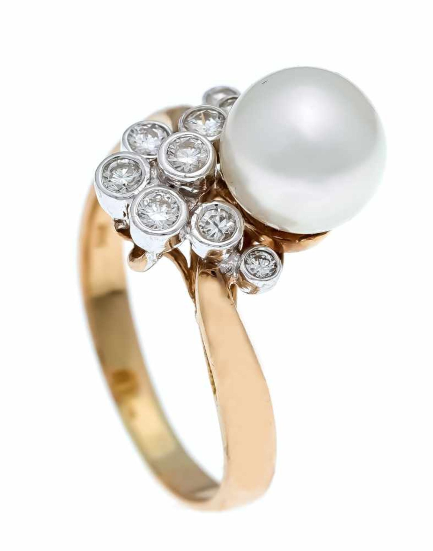 Akoya-Brillant-Ring GG/WG 585/000 mit einer feinen Akoyaperle 8 mm und 9 Brillanten, zus.0,40 ct W/