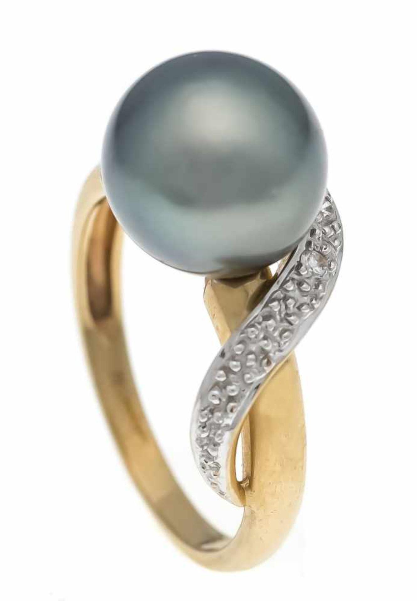 Tahiti-Brillant-Ring GG/WG 585/000 mit einer feinen Tahitiperle 10 mm mit sehr wenignatürlichen