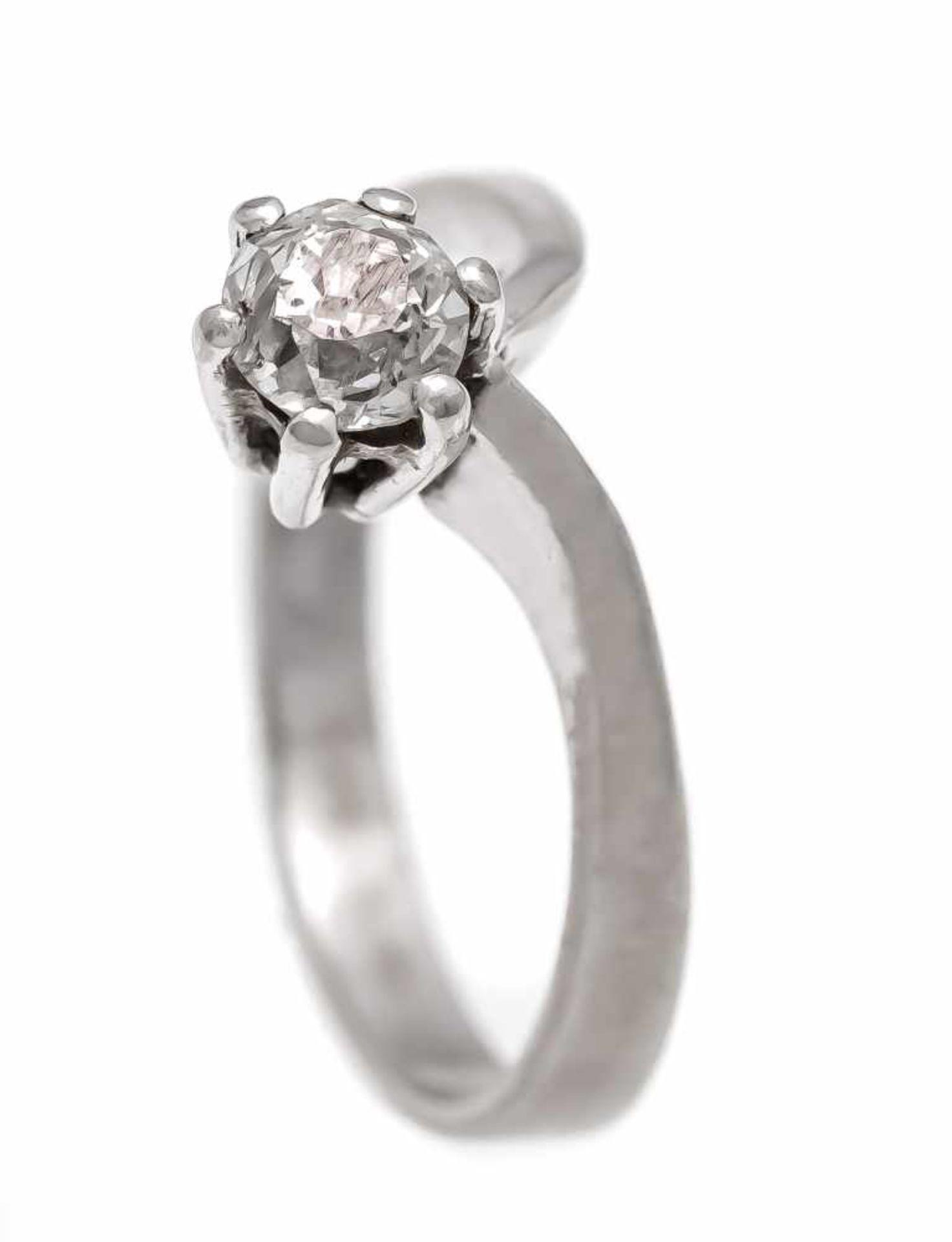 Altschliff-Diamant-Ring WG 585/000 mit einem Altschliff-Diamanten 0,30 ct l.get.W/SI, RG53, 2,8 gOld