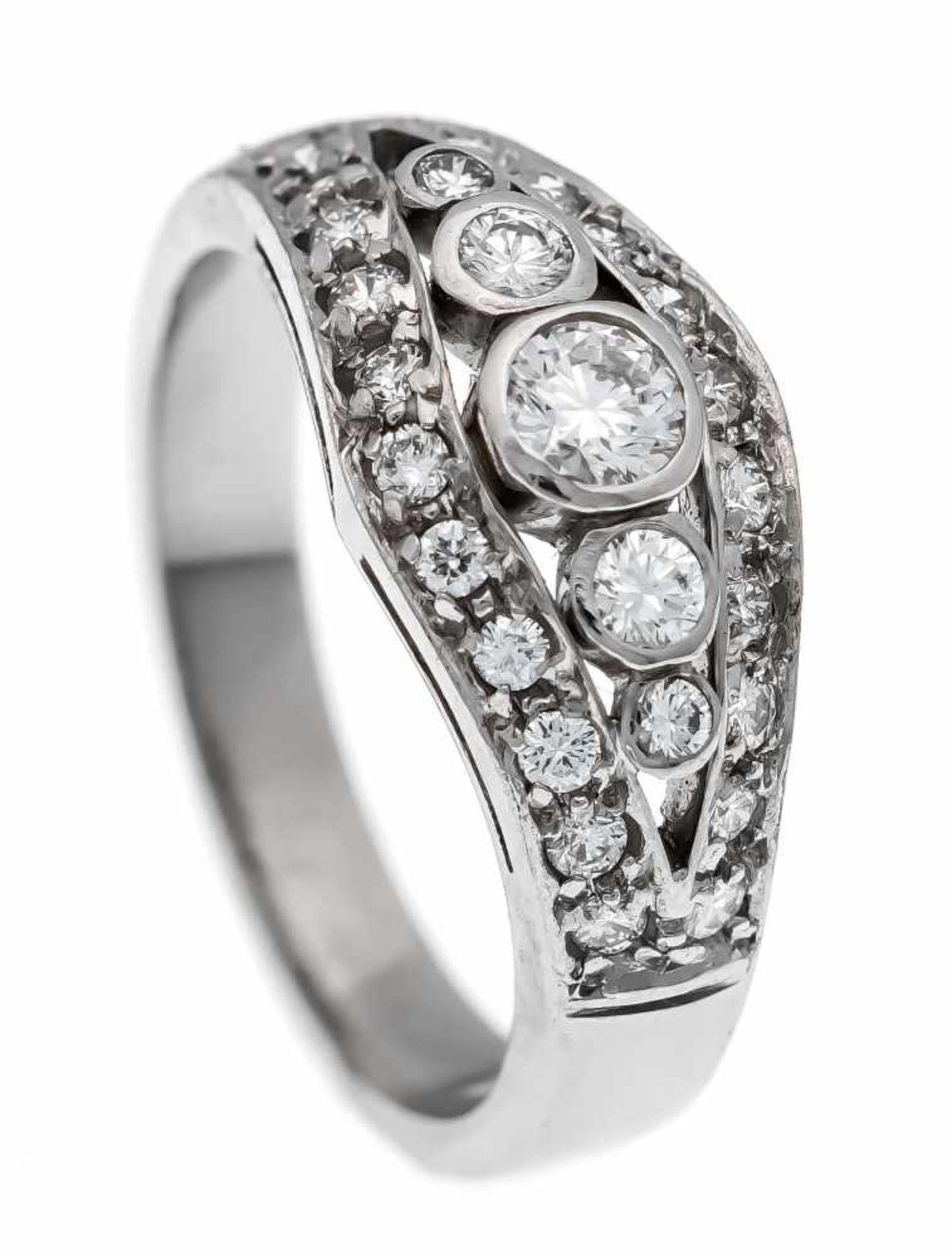 Brillant-Ring Platin 950/000 mit Brillanten, zus. 0,75 ct TW/VVS-VS, RG 54, 7,2 gBrilliant ring