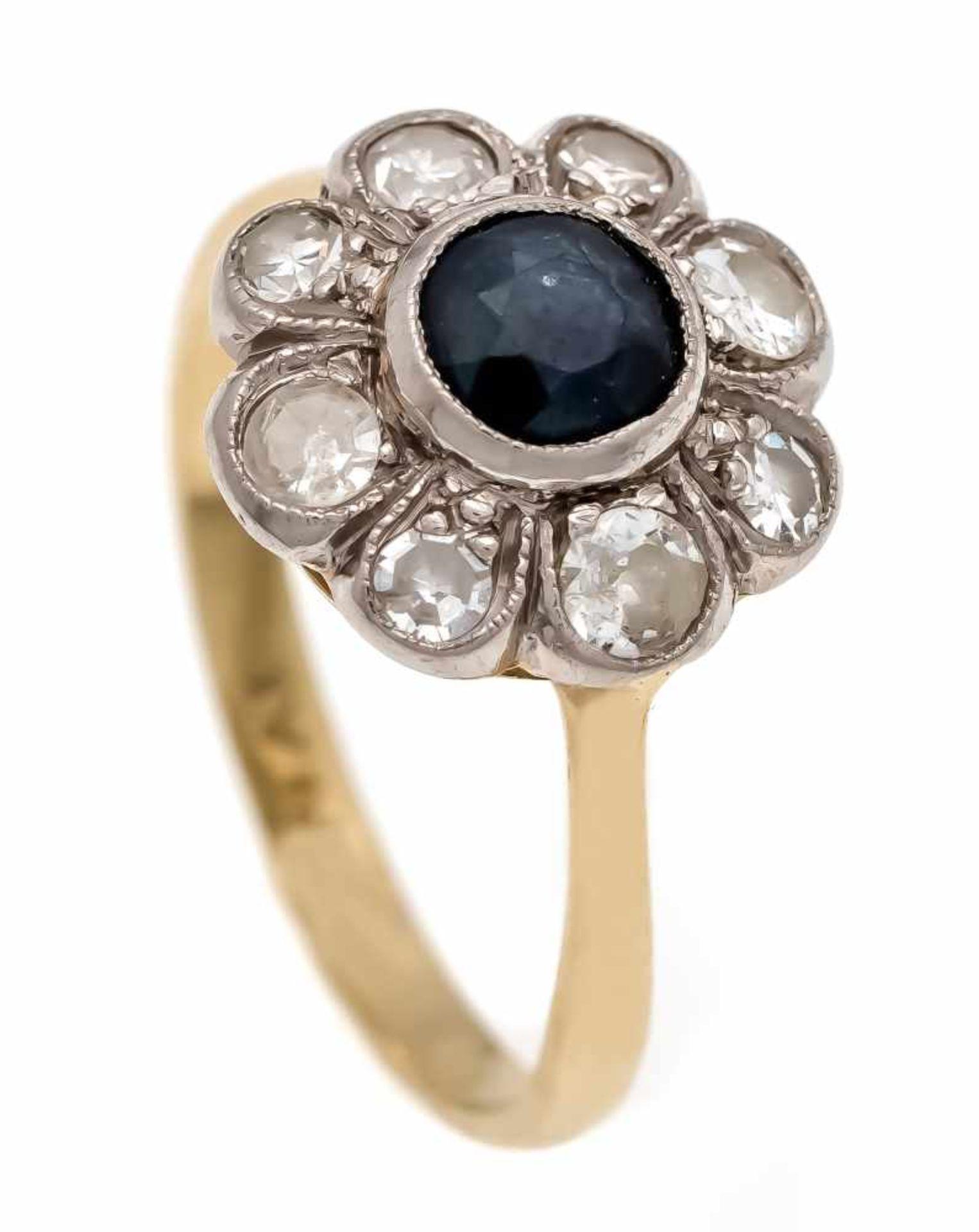 Saphir-Altschliff-Diamant-Ring GG 585/000 und Platin mit einem rund fac. Saphir 4 mm undAltschliff-