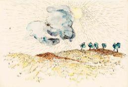 Max Schenk (1897-1972), Landschaft mit Wolke, Aquarell über Feder auf Papier, u. re.