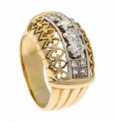 Altschliff-Diamant-Ring GG/WG 585/000 mit 11 Altschliff-Diamanten, zus. 0,80 ct