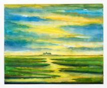 Peter Lübbers (1934-1982), drei Aquarelle: 2 x Halligen in der Nordsee im Abendlicht,