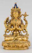 Grüne Tara, Tibet, 18./19. Jh., Bronze, feuervergoldet, partiell farbig staffiert und mit