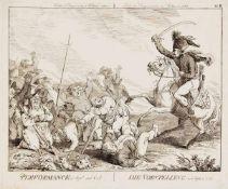 Johann Heinrich Ramberg (1763-1840) (attrib), zwei Karikaturen zum preußischen Einmarsch