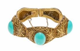Türkis-Armband Silber vergoldet, Filigranarbeit mit 3 ovalen Türkis-Cabochons 19 x 14 mm
