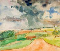 Bernhard Kretzschmar (1889-1972), Landschaft, Blick aus dem Atelierfenster, Aquarell über