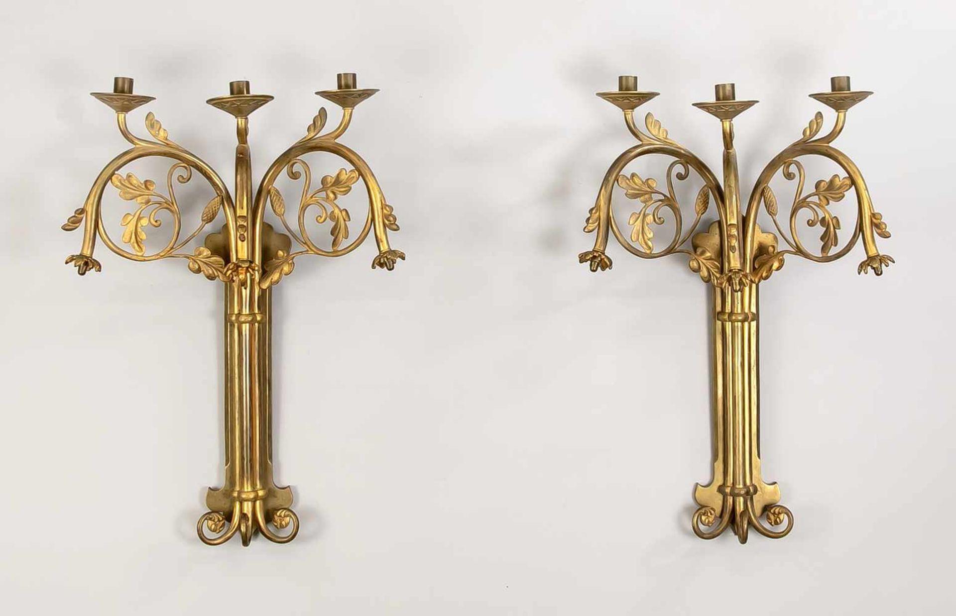 Paar Wandappliken, Ende 19. Jh., Bronze mit REstvergoldung. Passig geschweifte