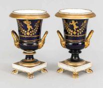 Paar Empire Vasen, Frankreich, 19. Jh., Urnenform mit seitlichen Handhaben über
