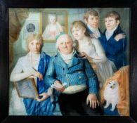 Englischer Portraitist um 1800, großes Familienbildnis. In bürgerlichem Interieur mit