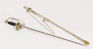 Degen, 20. Jh., zweischneidige Klinge (stumpf). Scheide aus Stahl mit Messingmanschetten,