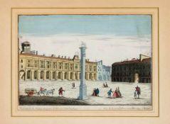 Guckkastenblatt um 1780, Ansicht der Piazza della Loggia in Brescia mit dem berühmten