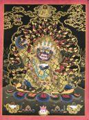 Tibetischer Thangka, 20. Jh., polychrome Pigmente u. Gold auf Leinen, zentrale Darstellung