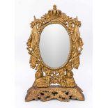 Tischspiegel, Ende 19. Jh., Eisenguss mit Goldstaffage. Stellenweise durchbrochen