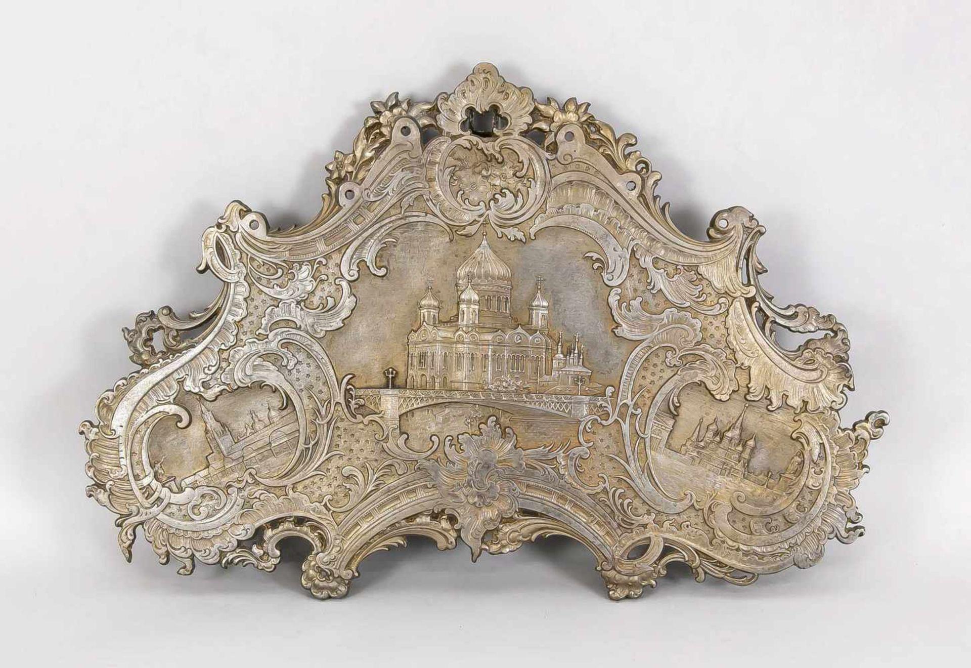 Eisenplatte mit Moskauer Ansichten, Russland, 19./20. Jh., passig geschweifte Form,