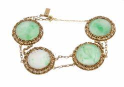 Jade-Armband Silber ungest., gepr., mit 4 rundgeschnitzten Jade-Platten 20 mm,