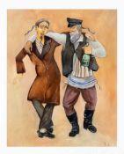 Monogrammist B.A., wohl Boris Aronson (1900-1980), der als Bühnenbildner am Broadway tätig