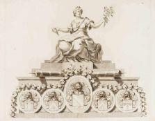 Konvolut von 9 Blatt älterer Grafik: gestochene Freimaurer-Urkunde von Paul Revere