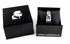 Carl Lagerfeld Damenquarzuhr, Mod. 2608, Stahl Gehäuse und Band, poliert mit