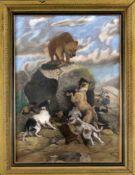 J. Nordström, skandinavischer Maler des 19. Jh., russische Bärenjagd, bei welcher der Bär