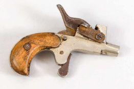 Miniatur Feuersteinpistole, Ende 19. Jh., Eisen, Griffschalen aus hellem Holz, leicht ber.