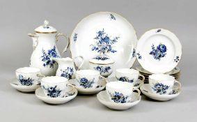 22- teiliges Kaffeeservice für sechs Personen, Meissen, 20. Jh., 2. W., Blaue Blume und
