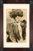 Hugo von Habermann (1849-1929), Halbfigur einer Dame mit Hut, Kohlezeichnung auf