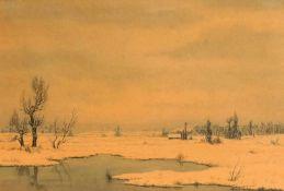Hans Schiel, 1. H. 20. Jh., weite Winterlandschaft mit einsamer Hütte, Aquarell auf