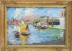 Monogrammist 1. H. 20. Jh., impressionistische Ansicht von Venedig, Pastellkreide auf