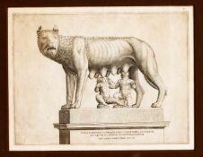 """Zwei Stiche aus dem """"Speculum Romanae Magnificentiae"""" von Lafreri zum Thema Kapitolinische"""