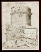 """Zwei Stiche aus dem """"Speculum Romanae Magnificentiae"""" von Lafreri: Grabmal der Cecilia"""