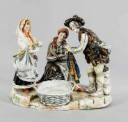 Figurengruppe, Rudolstadt-Volkstedt, Thüringen, 20. Jh., Marketender bei einer Frau, auf