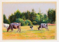 Leif Dahl, dänischer Künstler des 20. Jh., Kühe auf der Weide, Pastellkreide auf Papier,