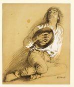 Arthur Kampf (1864-1950), furchtsam aufblickender Mann, seinen Hut vor die Brust haltend,