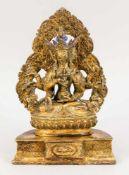 Figur der Usnisa Vijaya, Sino-Tibetisch, wohl 18. Jh., Bronze, feuervergoldet. 3-teilige