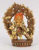 Mahakala, China/Tibet, 19. Jh., Bronze, teilvergoldet und polychrom staffiert. Auf einem