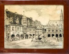 Unidentifizierter Künstler um 1900, der Markplatz von Goslar, feine Bleistiftzeichnung auf