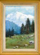 Fritz Splitgerber (1876-1914), Münchner Landschaftsmaler. Alpine Landschaft, Aquarell auf